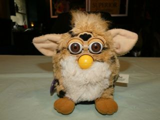 Vintage 1999 Furby 70 - 800 Repair Brown White With Dots With Brown Eyes