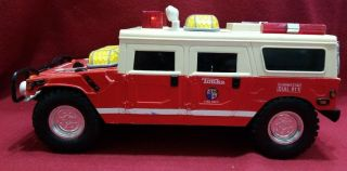 Tonka Fire Rescue Squad Hummer Toy Truck With Lights Siren & Winch