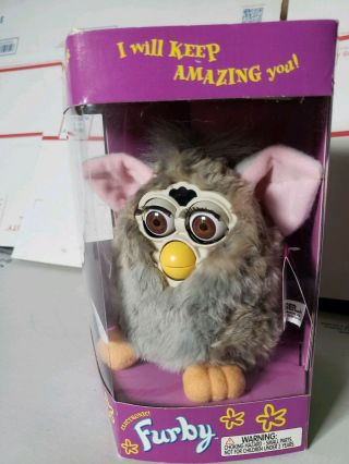1998 Vintage Tiger Electronics Furby With Tag Gray Pink 70 - 800 No Power