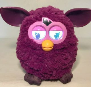2012 Furby Purple Hasbro Interactive Electronic Robotic Toy Pink Face Yellow
