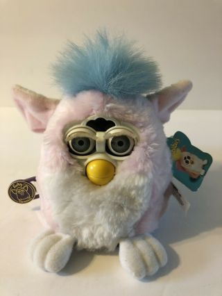 1999 Tiger Furby Baby Pink Body White Chest Blue Hair Model 70 - 940 Not