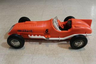 "Vintage Remco Battery Operated 19 "" Plastic "" Shark "" Indy Racer Tethered Race Car"