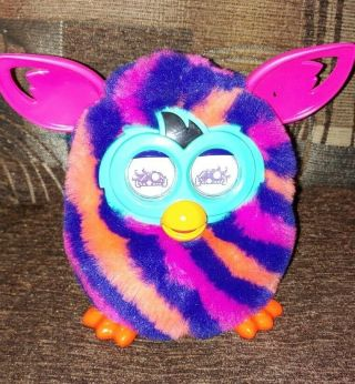 2012 Furby Boom Orange Purple Pink Diagonal Stripes Interactive Toy