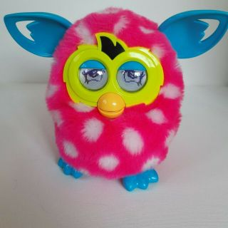 Furby Boom Pink White Polka Dot Talking Hasbro Interactive 2012