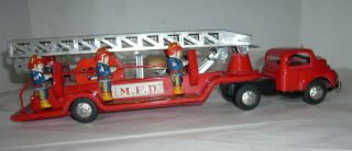 Vintage Japan Tin Friction M.  F.  D.  Fire Engine Truck