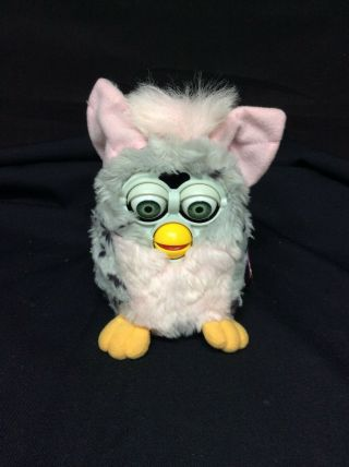 Tiger 1998 Furby Toy Model 70 - 800 W/ Tags Pink & Grey W/ Leopard Spots