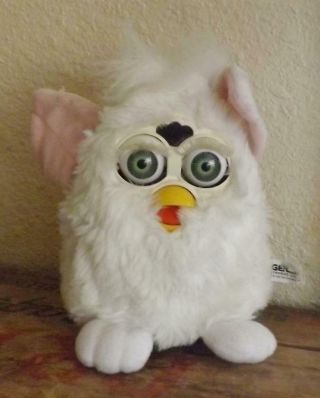 Furby 1998 White & Pink Green Eyes Not