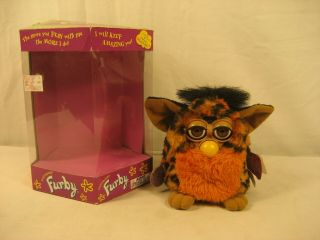"1999 Furby Tiger Orange Belly Good With Tags & Box "" Look """