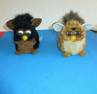 1998 2 Furby Black And Brown Model From 1998