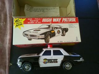 High Way Patrol Siren Non - Fall Mystery Bump N Go/ C - 33 Boxed/japan/nice