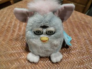 """5 """" Pale Blue & Pink Furby Baby Tag Dated 1999 Purple Tag"""