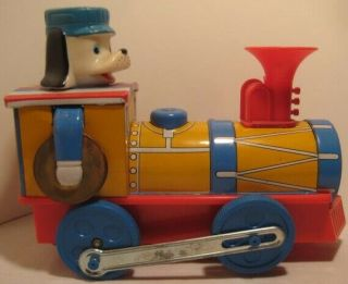 Old 1960s Battery Operated Tin & Plastic Train W/ Dog Conductor & Cymbals M.  T.