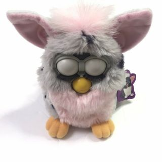 1998 Tiger Electronics Furby Model 70 - 800 Grey Pink Black With Hang Tag