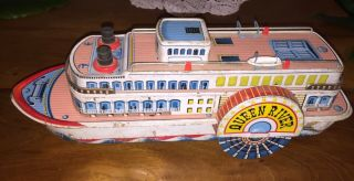 Tin Toy Boat,  Queen River M - T Modern Toys Tin Litho Steamboat