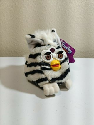 "1999 Furby Buddies "" Down Please "" Bean Tiger Electronics With Tag Zebra Striped"