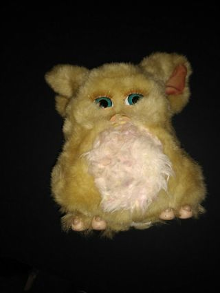 Large 2005 Furby Beige Pink Mohawk Blue Teal Eyes Electronic Torn Nose