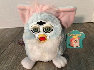 1999 Furby Babies Baby 5 Inch Blue,  White & Pink Model 70 - 940