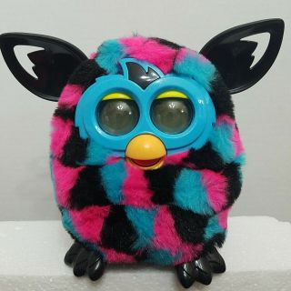 Furby Boom Plush Interactive Talking Toy Black Pink Blue Triangles 2012 Hasbro