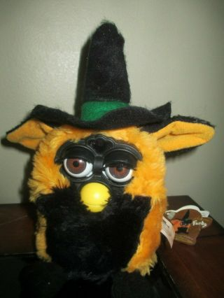 Tiger Electronics Autumn Furby Orange & Black Witch Interactive 1999 With Tag Ra