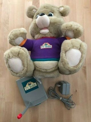 Vintage Tv Teddy 1993 Vhs/television Interactive Friend W/6 Vhs Tapes