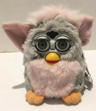 1998 Furby Leopard 70 - 800 Grey With Black Spots Pink Belly Gray Eyes -