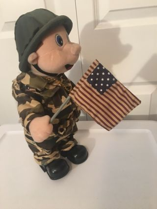 Vtg Musical Plush Army Soldier Beverly Hills Teddy Bear Co We Will Rock You 13 ""