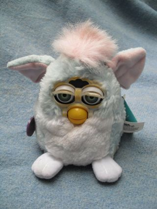"5 "" Pale Blue & Pink Furby Baby Tag Dated 1999"
