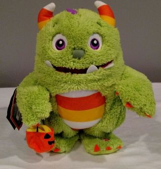 "Hallmark Halloween Roary Monster Singing Animated 10 "" Plush Sings I Want Candy"
