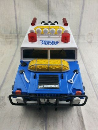 2000 Tonka Hasbro Hummer Blue Police Humvee Rescue Lights Sound Winch