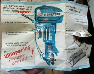 Vintage Evinrude Big Twin Electric 25 Toy Outboard Insert No Motor Or Box