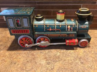 Vintage Western Locomotive Special Tin Train Modern Toys Japan Battery Engine