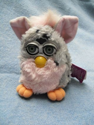 "6 "" Pink,  Grey Spotted Furby Paper Hang Tag Dated 1998"