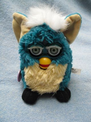 """6 """" Teal & White Furby Tag Dated 1999"""