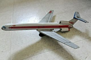 Vintage Twa Boeing 727 Friction Powered Tin Jet Airplane Made In Japan