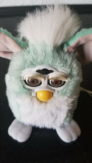 Furby 1999,  Baby Blue White W/pink Ears.
