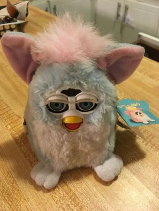 1999 Furby Babies Baby Blue White W/pink Ears