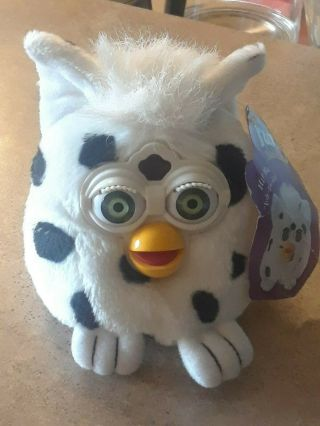 Vintage 1999 Furby Buddies Good Light Cow Print Plush Toy Tiger Electronics