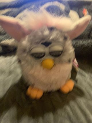 Tiger 1998 Furby Toy 70 - 800 W Tags Pink & Grey Leopard Spots For Repair