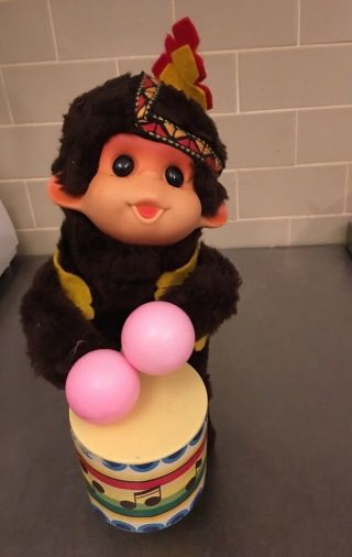 Alps Japan Cha - Cha Drumming Monkey Battery Operated Drummer Drum 3284 Gyd
