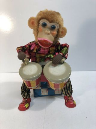 Bongo Monkey Battery Operated Toy Vintage Alps Bongo Drum Japan