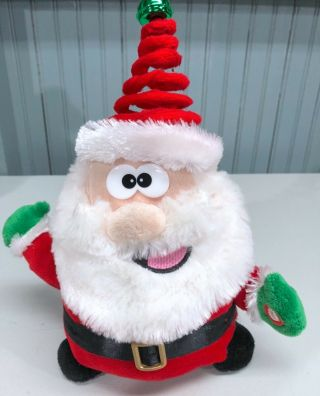 "Christmas Holiday Animated 10 "" Plush Spinning Santa Coming To Town See Video"