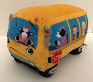 "Cuddle Barn Wheelie School Bus Singing Animated 9 "" Plush Wheels On The Bus"