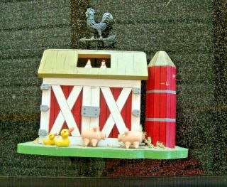 Vintage Farm Barn Music Box Pigs,  Chicken,  Ducks,  Weather Vane