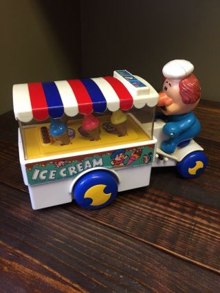 Vintage Cheng Cheng Ice Cream Cones Cart Bicycle Toy 1988 Delivery Man Honk