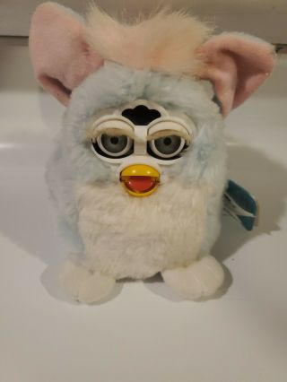 Vintage 1999 Furby Babies Light Blue White Baby Mute