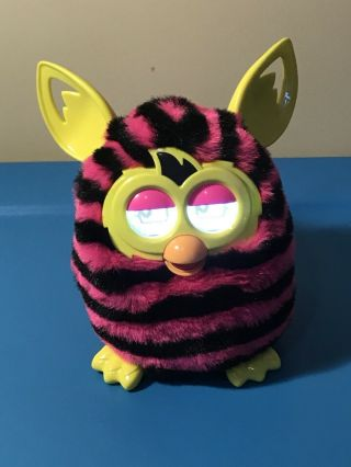 2012 Furby Boom Pink Black Zebra Print Electronic Talking Toy Hasbro Tests