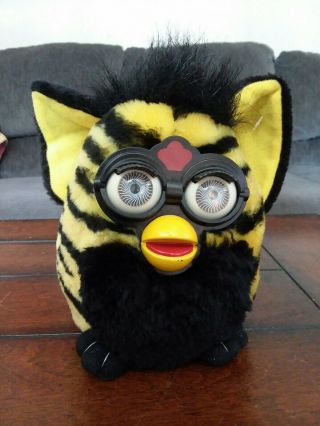 Tiger Furby Stuffed Toy Plush Yellow Black Zebra 1999 Nanco 7  Tall Chelsea