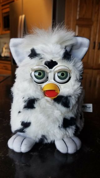 Tiger Electronic Furby,  White With Black Spots,  1998 Model,  And