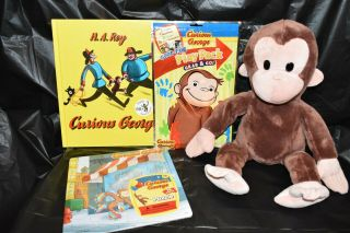"17 "" Curious George Plush Doll By Applause,  Book,  Puzzle,  Dvd & Playpack Euc"