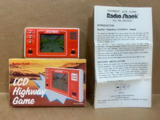 Vintage Radio Shack Lcd Highway Hand Held Game And Instructions